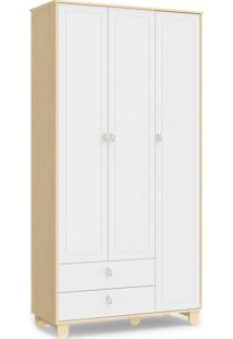 Roupeiro Rope 3 Portas Natural / Branco Soft Matic - Branco - Dafiti