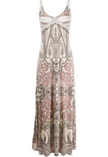 Etro Slip Dress Longa Com Estampa Paisley - Neutro