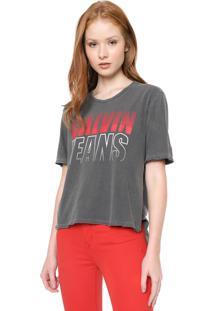 Blusa Calvin Klein Jeans Race Mullet Cinza