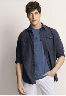 Camisa Masculina Em Tecido De Algodão Com Bolsos Frontais