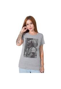 Camiseta Feminina Stoned Bob Marley Five Cinza