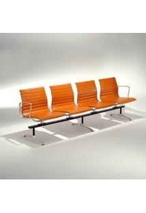 Banco Longarina Base Alumínio Polido Pintura Preta Studio Mais Design By Charles E Ray Eames