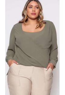 Blusa Almaria Plus Size Pianeta Cachecoeur Verde Verde