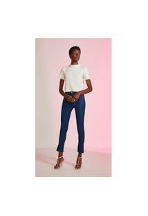 Calça Leboh Jegging Cós Intermediário Abertura Barra Jeans