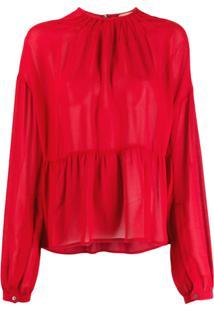 Nº21 Scalloped Long Sleeves Blouse - Vermelho