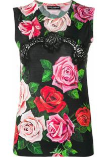 Dolce & Gabbana Blusa Floral De Tricô - Preto