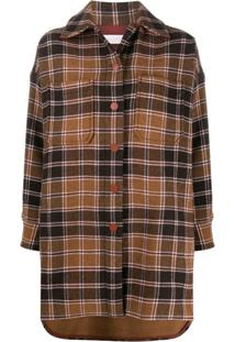 See By Chloé Checked Single-Breasted Coat - Marrom