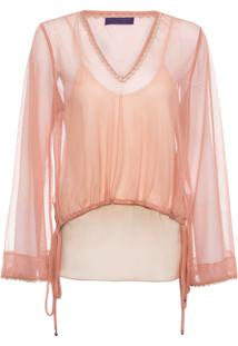 Blusa Feminina Decote V Tule Grid - Rosa