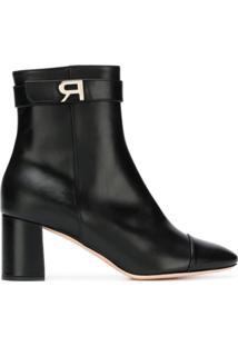 Rochas Ankle Boot De Couro Com Logo - Preto