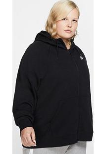 Blusão Nike Sportswear Essential Hoody Plus Size Feminino - Feminino-Preto+Branco