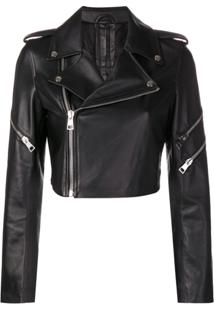 Manokhi Cropped Biker Jacket - Preto