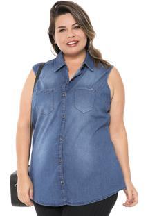 Camisa Jeans Cativa Plus Estonada Azul-Marinho