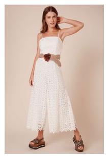 4551bb442c Off Premium. Vestido Guipir Nesgas Branco