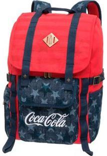 Mochila Coca-Cola Com Tampa Americanflag - Unissex-Vermelho