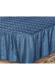 Colcha Casal Padrão Box Tafetá Amassado Azul 03 Peças Liberty
