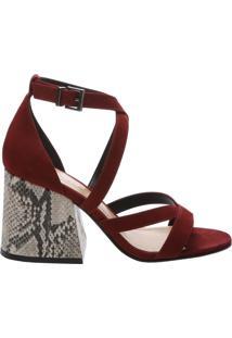Sandália Block Heel Snake Red | Schutz