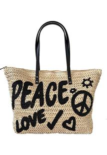 Bolsa Shopper Palha Peace Love Preta