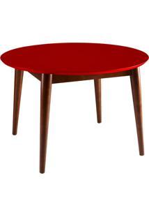 Mesa De Jantar Redonda Devon Cacau E Vermelho