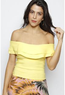 Blusa Ciganinha Com Babados Lisa - Amarela - Moisellmoisele