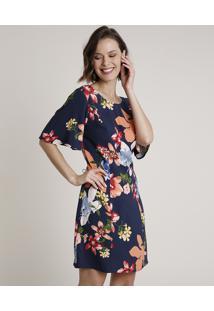 Vestido Feminino Curto Estampado Floral Com Vazado Manga Curta Azul Marinho
