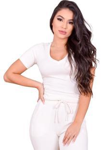 Blusa Miss Misses Moletinho Com Decote V Off-White - Off-White - Feminino - Dafiti