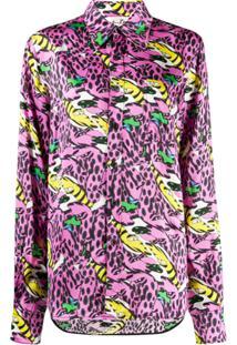 Marni Camisa Com Botões E Estampa - Rosa