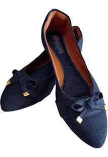 Sapatilha Jeans Bico Fino Feminina - Feminino-Azul