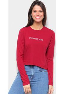 Blusa Cropped Calvin Klein Logo Manga Longa Feminina - Feminino-Vermelho Escuro