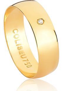 Aliança De Casamento,De Noivado Ouro Reta Com Diamante