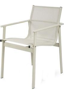 Cadeira Solano Assento Em Tela Sintetica Cor Branca Com Base Aluminio - 44546 - Sun House