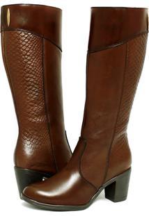 Bota Montaria Feminina Art Shoes Cano Alto 202M Chocolate Marrom