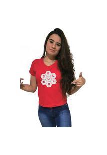 Camiseta Feminina Gola V Cellos Honey Premium Vermelho
