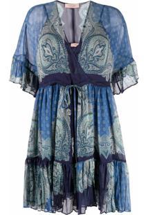 Twinset Vestido Reto Com Estampa Paisley - Azul