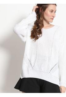 Blusão Em Tricô Com Fendas - Branca - Malweemalwee