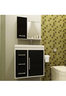 Conjunto Para Banheiro Roma Ii Branco/Preto - Bechara Móveis