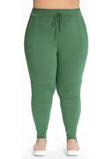 Calça Plus Size Verde Militar Com Nervuras
