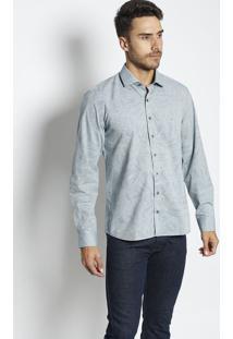 Camisa Slim Fit Floral Com Bordado- Azul Clarovip Reserva
