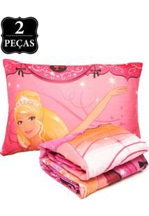 Kit 2Pçs Colcha Lepper Barbie Bailarina Rosa