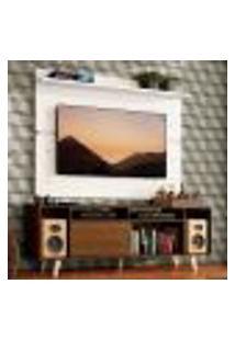 Rack Madesa Cancun Com Pés E Painel Para Tv Até 65 Polegadas - Rustic/Branco 5Z09