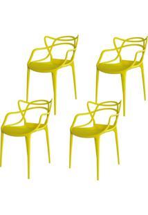 Kit 04 Cadeiras Facthus Amsterdam Amarelo