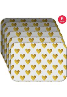 Jogo Americano Love Decor Wevans Corações Yellow Kit Com 6 Pçs