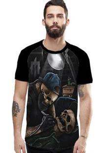 Camiseta Stompy Raglan Modelo 106 Masculina - Masculino-Preto