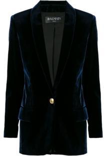 Balmain Blazer Alfaiataria Com Logo - Azul