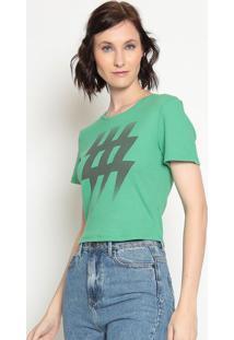 Blusa Cropped Logo- Verde & Verde Escuro- Zoompzoomp
