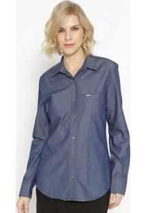 Camisa Jeans Com Bolso - Azul Escuro- M. Officerm. Officer