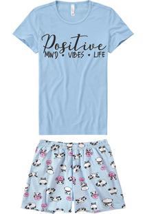 Pijama Curto Estampado Pandas Malwee Liberta