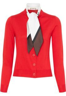 Burberry Cardigan De Seds - Vermelho