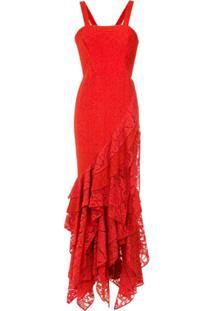 Martha Medeiros Vestido Longo De Renda Maite - Vermelho