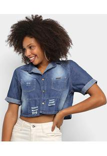 Blusa Jeans Pink Cropped Rasgos Feminina - Feminino-Azul