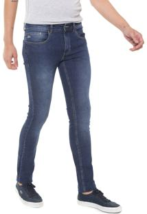 Calça Jeans Lacoste Skinny Estonada Azul
